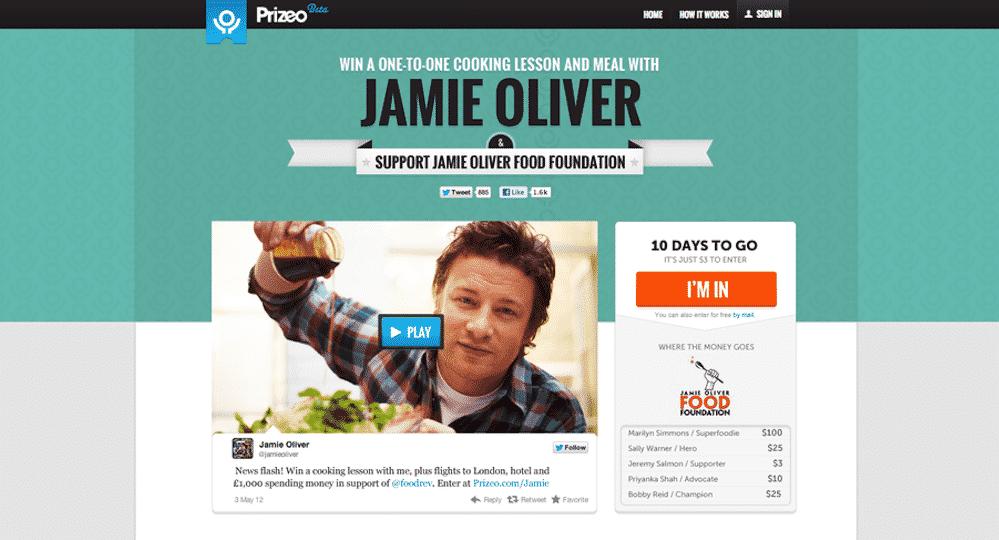 Jamie Oliver Prizeo Campaign